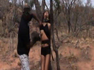 Threesome bondage and torment with African slut!