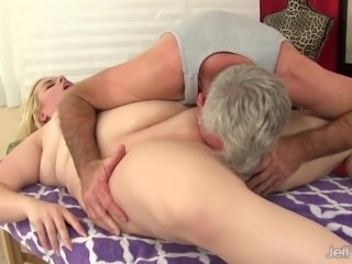 Blonde fatty walking in her pussy using a vibrator