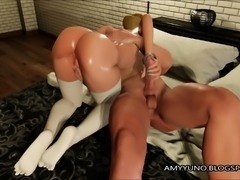 TIGHT Blonde 3D Babe With Small Tits Gets Her Pussy Pumped!
