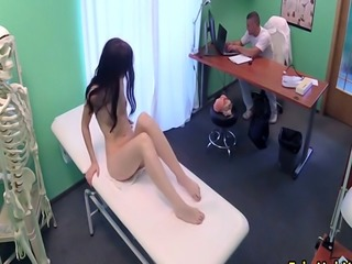 Brunette cheating with doctor