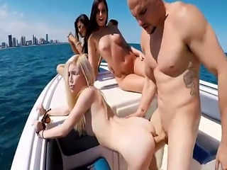 Hot bikini babes got wild in group fuck boat party