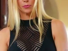 Playful blond haired huge breasted MILF greedily blows massive dick