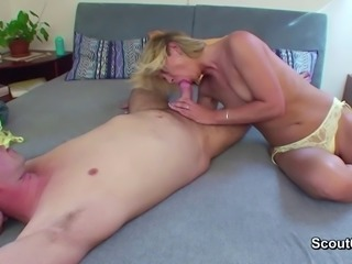 Hot Mom Seduce german Step-son to fuck her in asshole