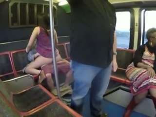 Spoiled bitch is fucking upskirt in a public bus right in front of other passengers