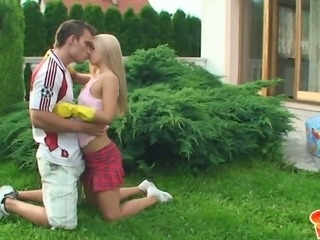 Sabrina Blond takes a break from her daily duties to have sex with her BF