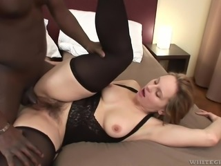 Her furry pussy became definitely wet, after she sucked Joachim's long black penis. He squeezed her already hard nipples, to stimulate her even more and slided his huge cock in her moist, hairy cunt. Join and enjoy the spicy bits of scandal!