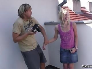 Cheating blonde gf rides old man big cock