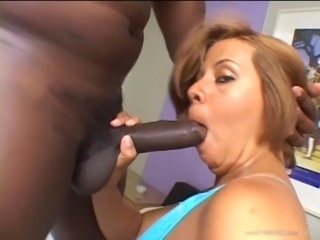 Chubby Brazilian cowgirl with a nice ass giving the big black cock a blowjob before being smashed