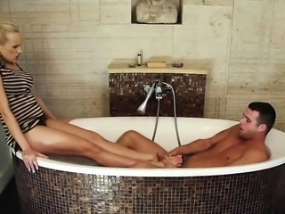 Bathroom foot fucking extreme for blonde and her lover