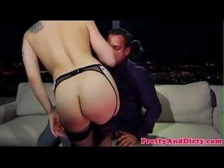 Glamorous babe anally riding hard cock