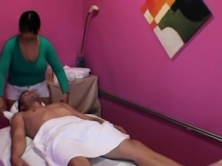 Chubby asian masseuse sucking and riding
