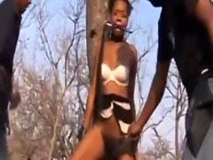 Threesome fucking and BDSM with cock loving African slut