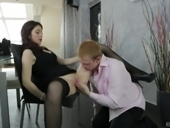 Scorching Niana Dorev wearing sexy lingerie and riding a cock