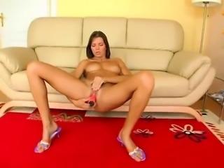 Hairy brunette Ansie Rocher toys her bushy pussy