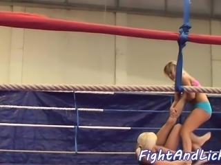 Pussylicking babes catfight in a boxing ring