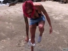 Looks at Anna Bell Peaks fucking a huge cock on the beach