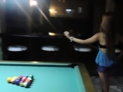 Pool playing asian fucks first white cock
