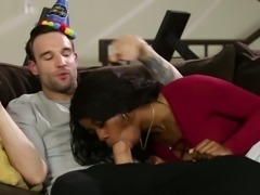 Hot black chick Mya Maze gives her boyfriend a blowjob for his birthday