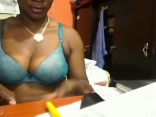 Hot amateur ebony blows and rides her white Bfs big cock