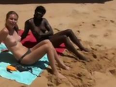 Guy Fucks Black And White Girls On The Beach