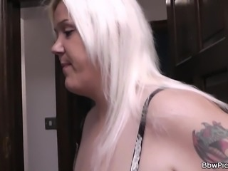 Blonde bbw gives tit-job and rides his cock