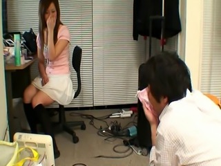 Japanese babe gives guy her pink panties to sniff