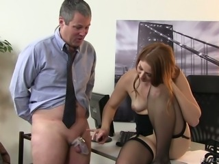 Stunning redhead secretary Rose Red seduces a horny office dude