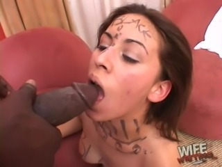 Black stud drilling his sweetheart's throat and wet warm pussy