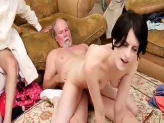 Brunette licking old Frannkie heads down the Hersey highway