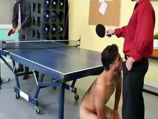 Straight men serviced by gay CPR lollipop gargling and naked ping pong