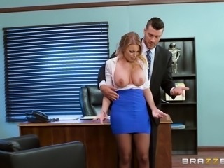 When she felt her boss's big dick pressing against her ass, she had to make a decision. Would she sue him for sexual harassment or would she suck his cock until he came in her mouth? Thankfully, she'd always loved the taste of cum, so opted for door number two. Head to our site for big tits at work!