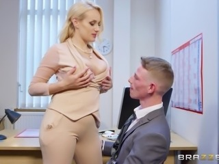 busty blonde sucks her coworker's cock