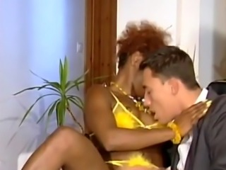 Curly-haired hottie from Africa sucks white dick and gets slippery pus