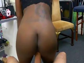 Petite ebony babe Lexxi fucked hard by the pawnshop owner