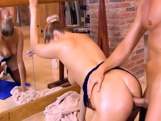 Phat ass ballerina Nikky Dream analyzed in ballet studio
