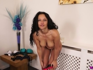Sexy MILFie curvy and curly brunette strips and plays with her titties