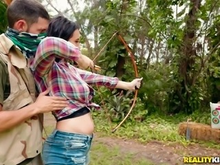 Sidney Alexis has her shaved pussy boned by Tyler Steel in the nature