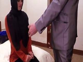 Amateur hijab arab spanked before cockriding