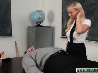 Schoolgirl Bailey Brooke sucks off and fucked by her teacher