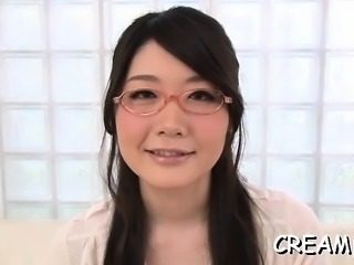 Japanese hottie in erotic scenery bonks until a creampie