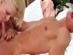 Cocksucking grandma screwed by young cock