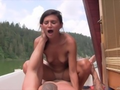 Skinny bitch has her tight muff hammered on a boat