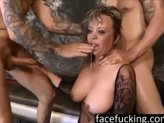 2 big dicks destroy puke slut MILF Mallory Taylor's throat