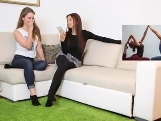 Yoga Challenge of two nice teen girls