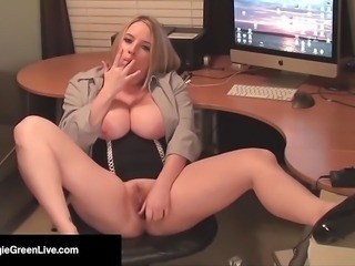 Office Slut Maggie Green Bangs Her Pussy with a Dick Dildo!