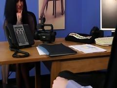British cfnm femdom cocksucking sub in office