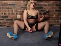 Bosomy chubby blonde MILF in glasses watches porn and masturbates