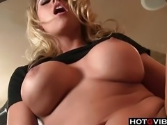 Sexy blondie rubs on her snatch