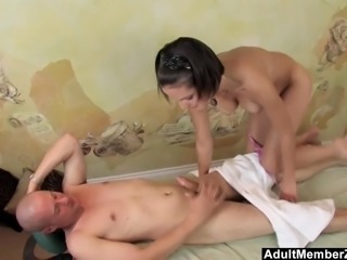 Busty Teen's Massage Gets His Cock Rock Hard