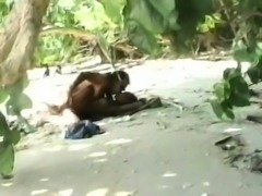 Lovely black babe banged on beach